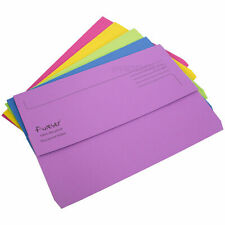 10 x Colour Foolscap Document Wallets 300gsm Thick Card Files A4 Paper Folders
