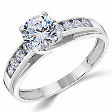 14K Solid White Gold CZ Cubic Zirconia Solitaire Engagement Ring 1.00 Ct.