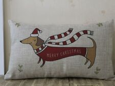 Merry Christmas Dachshund dog Santa Hat Scarf cushion cover throw pillow case