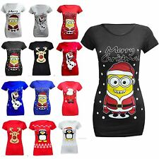 Womens Ladies Novelty Rudolph Olaf Frozen Christmas Stretchy Tshirt Top 8 to 14