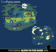 SCOOBY DOO Mystery Machine Glow In Dark Ghosts Limited Mens Blue T-Shirt M-2X