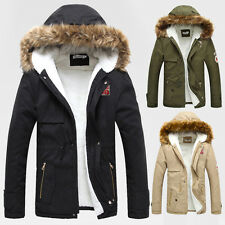 CHARM Casual Winter Men Fur Collar Warm Parka Hooded Hoodie Trench Coats Jackets
