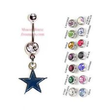 NFL DALLAS COWBOYS AUTHENTIC LOGO CHARM DANGLE NAVEL BELLY RING! NRNFL-111