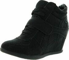 Top Moda Womens Sammy-40 High Top Velcro Womens Hidden Wedge Sneaker Shoes