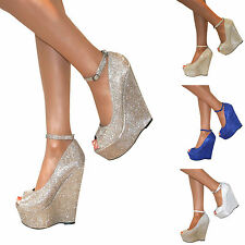 WOMENS GLITTER PLATFORM PEEP TOE WEDGE HIGH HEELS ANKLE STRAPPY PARTY PROM SIZE