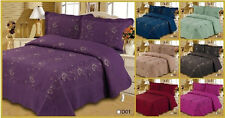 3 Pcs Solid Color Embroidery Quilt Bedspread Coverlet Set King Queen Twin