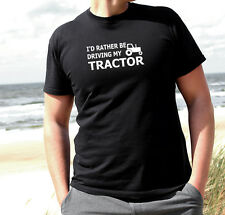 ID RATHER BE DRIVING MY TRACTOR MEN T SHIRT FUNNY FITNESS GYM FITNESS CLASSIS UK