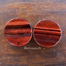 Pair of Red Tigers Eye Stone Plugs  - Double Flared ear lobe 6mm - 25mm -10sz