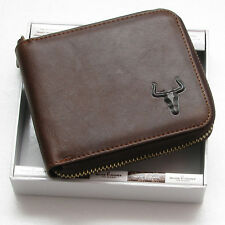 New Mens Genuine Leather Zip Around Bifold Wallet Purse with Coin Slot MJ2552