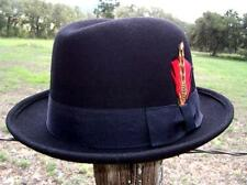 NEW Black Wool Felt HOMBURG Fedora Kid Rocker Blues Bros Gangster Tuxedo Hat