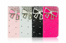 Bow Bling Crystal Diamond Flip Leather Case Card Wallet Cover For Apple Samsung