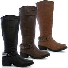 Ladies Womens Faux Leather Mid Calf Block Heels Winter Biker Riding Boots Shoes