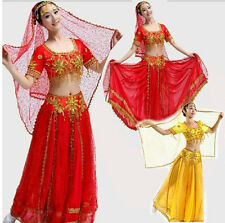 D9BY# Red Yellow Performance Costume Mahabharata Bollywood India Dance Suit
