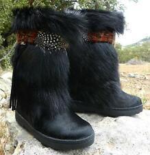 NEW BEARPAW KOLA II Winter EXOTIC Goat FUR Sheepskin Mukluk Leather Boots Black