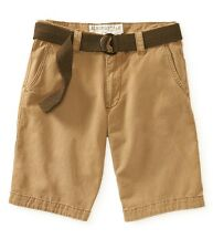 aeropostale mens belted solid flat-front shorts