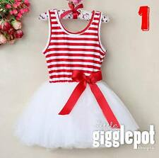 NEW GIRL/INFANT/TODDLER RED AND WHITE TUTU DRESS/XMAS/PARTY 1-2-3-4-5-6-7