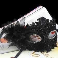 New Eye Face Mask with Feather Flower for Venetian Masquerade Halloween Costume