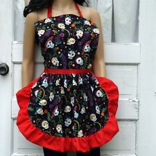 Day of the Dead Skull and Flower Apron Dinner Party Hostess Gift Bakery