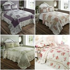 Floral Vintage Patchwork Quilted Bedspread Throw Over & 2 Pillow Shams