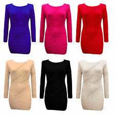 Ladies Fluffy Furry Soft Stretch Womens Long Knitted Winter Jumper Top Size 8-14