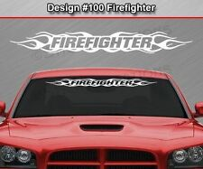 Design #100 FIREFIGHTER Flame Flaming Windshield Decal Sticker Window Graphic