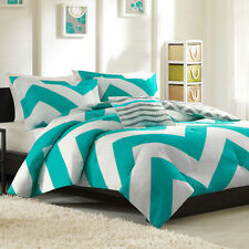 Beautiful Vibrant Teal & White Chevron 4-PC Comforter Set Twin Full/Queen KING