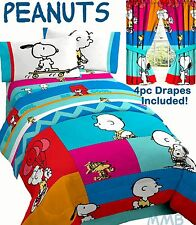 PEANUTS SNOOPY CHARLIE BROWN Blue CHEVRON Twin/Full Size Comforter+Sheets+Drapes
