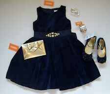 NWT Gymboree Holiday Shine Blue Velveteen Dress Gold Purse Bracelet Clips Shoes