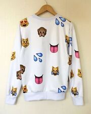 Women/men White Emoji Fashion fashion Long Sleeve Cartoon hoodies Sweatshirt