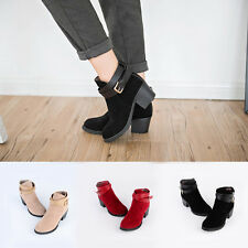 Winter Lady's Boots Nubuck Leather Belt Buckle Martin Boots Ankle Boots