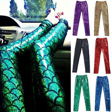 Sexy Womens Mermaid Scale Fish Skinny Stretch Leggings Pants Trousers 9 Colors