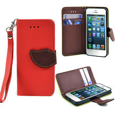 New Flip Leather Wristlet Card Holder Wallet Phone Case Cover for iPhone 5 5s
