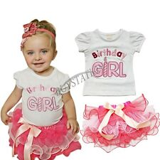 2PC Baby Xmas Outfit Birthday Girl Top T-shirt Tutu Dress Skirt Party Gift 0 1 2