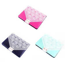 For iPad Case Cute Lace Bowknot Design Synthetic Leather Stand Flip Cover Skin