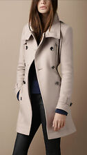 NWT Burberry Brit Double Breasted Funnel Neck Wool Trench Coat Jacket 12 14