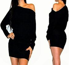 SEXY OFF ONE SHOULDER KIMONO SLEEVES SWEATER PARTY COCKTAIL DRESS S M L XL