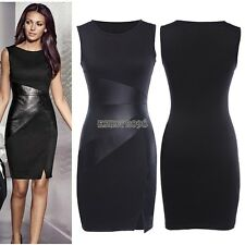 Fashion Women Summer Sexy Leather Splice Bodycon Evening Party Cocktail Dress