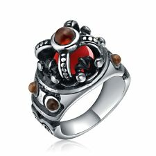 New Stone Style Stainless Steel Black Silver Tone Ring Jewelry Size 8 9 10 11 12