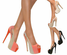 WOMENS STRAPPY SLINGBACK HIGH STILETTO HEEL PLATFORM PEEP TOE SANDALS SIZE PROM