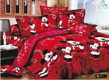 red cartoon Mickey Mouse Cotton king double Size Duvet / quilt Cover bed Sets