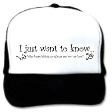 trucker hat cap foam mesh poly-foam Just want to know who hiding keys glasses