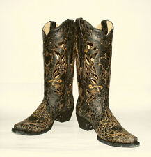 Cut-outs Black Crackle Goat Skin Leather Western Boots Corral Women's A1056