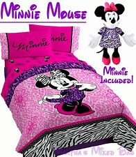 DISNEY MINNIE MOUSE Diva Girl Pink Jungle Zebra Twin/Full Size Comforter+Doll