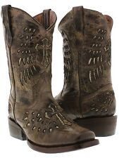 kids girls or boys toddler brown leather cowboy cowgirl boots wings cross square