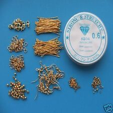 Jewellery Making Starter Kit - Silver Gold Plated Bronze Findings Lobster Clasp