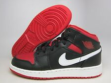 NEW YOUTH AIR JORDAN 1 MID (GS)  [554725-020]  BLACK//GYM RED-WHITE