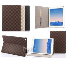 Luxury Deluxe Grid Folio Leather Stand Smart Case Cover For Apple iPad Air 2