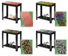 FC481 BLACK FINISH GLASS TOP WOODEN ACCENT END TABLE NIGHT STAND W THEMED TOP