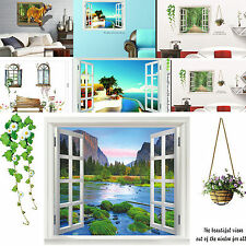 Green Nature Mediterranean Scenery Window Home Decor Removable Wall Stickers 3D