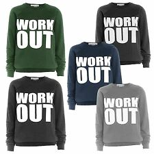 New Womens Workout Print Details Plus Size Activewear Jumpers Tops 8-22